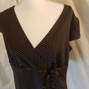 Perseption Stretch Brown Polka Dot Tunic